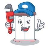 Style de bande dessinée de caractère de coffret de plombier illustration stock