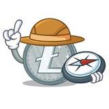 Style de bande dessinée de caractère de Litecoin d'explorateur illustration de vecteur