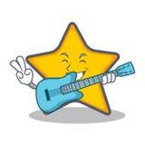 Style de bande dessinée de caractère d'étoile avec la guitare illustration libre de droits