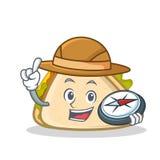 Style de bande dessinée de caractère de sandwich à explorateur illustration stock