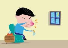 Style de bande dessinée de l'homme ou enfant avec le nez rouge et grippe un jour pluvieux Clipart (images graphiques) Editable illustration libre de droits