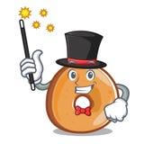 Style de bande dessinée de mascotte de bagels de magicien illustration stock