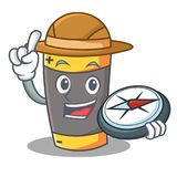 Style de bande dessinée de mascotte de batterie d'explorateur illustration de vecteur