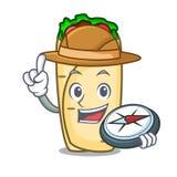 Style de bande dessinée de mascotte de burrito d'explorateur illustration libre de droits