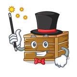 Style de bande dessinée de mascotte de caisse de magicien illustration libre de droits