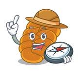 Style de bande dessinée de mascotte de pain du sabbat d'explorateur illustration de vecteur