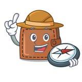 Style de bande dessinée de mascotte de portefeuille d'explorateur illustration libre de droits