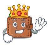 Style de bande dessinée de mascotte de portefeuille de roi illustration stock