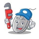 Style de bande dessinée de mascotte de souris de plombier illustration de vecteur