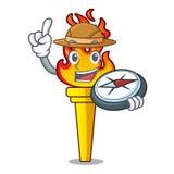 Style de bande dessinée de mascotte de torche d'explorateur illustration libre de droits
