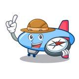 Style de bande dessinée de mascotte de zeppelin d'explorateur illustration de vecteur
