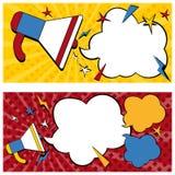 Style de bandes dessinées de bannières d'annonce illustration stock