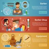Style de Barber Shop Banners Set Flat illustration stock