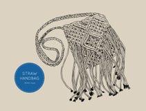 Style de boho de Straw Handbags, vecteur de croquis Photos stock