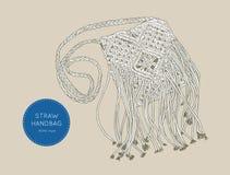 Style de boho de Straw Handbags, vecteur de croquis Photographie stock libre de droits