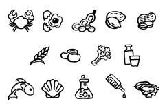 Style de brosse d'encre d'aquarelle d'icônes de sécurité alimentaire Image libre de droits