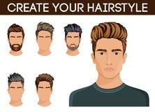 Style de caractère de barbe de cheveux d'hommes, hippie de moustache de barbe d'homme Illustration de vecteur Photo libre de droits