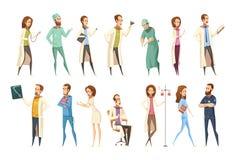 Style de Characters Set Cartoon d'infirmière rétro illustration stock