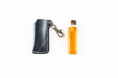 Style de couverture noire d'allumeur et d'allumeur orange Photographie stock libre de droits