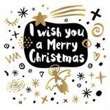 Style de croquis de bonne année de Joyeux Noël illustration libre de droits