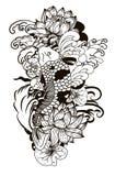 Style de dessin noir et blanc de tatouage de Koi Carp Japanese Photos stock
