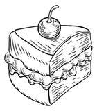 Style de gravure sur bois en vintage de gâteau de confiture et de crème rétro Photo stock