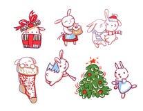 Style de griffonnage de carte de Noël de caractère de nouvelle année d'ensemble de lapin illustration stock