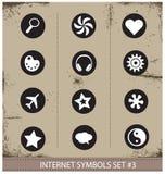Style de grunge d'ensemble de symboles d'Internet de Web Photographie stock libre de droits