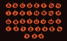 Style de Halloween de vecteur d'alphabet de création de fonte Potiron Halloween de lettre d'alphabet Photos stock