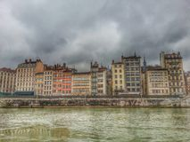 Style de HDR de vieille ville de Lyon, France Photo stock