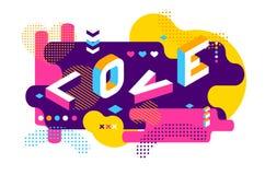 Style de Memphis coloré par amour Bannière isométrique de conception de mot Illustration de jour de valentines Vecteur 10 ENV illustration de vecteur