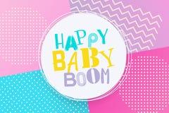 Style de Memphis de joyeux anniversaire de baby boom Photo stock
