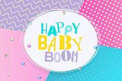 Style de Memphis de joyeux anniversaire de baby boom illustration stock