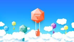 Style de papier abstrait coloré moderne Baloons polygonal avec le magicien conceptuel comme pouce vers le haut de signe Calibre p Photos stock