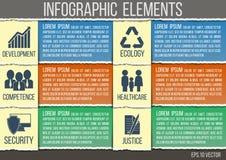 Style de papier déchiré par calibre abstrait d'infographics avec les icônes intégrées pour le développement, compétence, sécurité Image stock