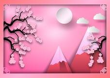 Style de papier d'art des montagnes avec la branche des fleurs de cerisier, des nuages et du soleil sur le fond rose, cadre orien illustration libre de droits