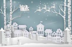 Style de papier d'art de Joyeux Noël et de nouvelle année COM mettent à la terre le texte d'illustration de globe illustration libre de droits