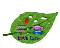 Style de papier d'art, voiture d'Eco, énergie solaire d'alternative du soleil d'énergie d'Eco Photos stock