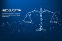 Style de polygone d'échelle de justice de point et de ligne connexion illustration stock