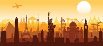 Style de renommée mondiale de silhouette de point de repère avec la conception de rangée sur le coucher du soleil illustration de vecteur
