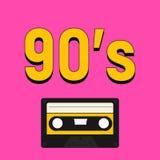 style de 90 ` S avec les nombres jaunes et l'enregistreur à cassettes Photographie stock libre de droits