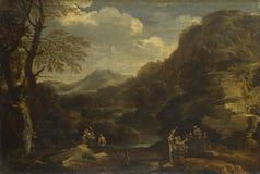 Style de Salvator Rosa - paysage montagneux avec des figures photos libres de droits