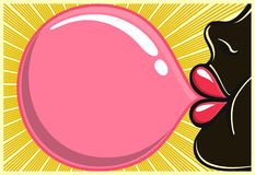 Style de soufflement de l'illustration 80s de bubblegum de fille de noir de bubble-gum Image libre de droits
