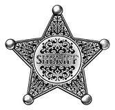 Style de Star Badge Engraved de shérif Photo libre de droits