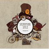 Style de Steampunk Conception de steampunk de calibre pour la carte Fond de steampunk de vue Photo stock