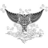 Style de tatouage de Boho de queue de baleine illustration libre de droits