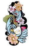 Style de tatouage de Koi Carp Japanese de dessin Photo libre de droits
