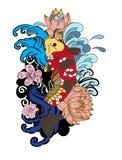 Style de tatouage de Koi Carp Japanese de dessin Images libres de droits