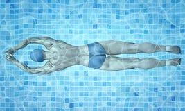 Style de vie sain Formation convenable de nageur dans la piscine Nageur masculin professionnel à l'intérieur de piscine Texture d illustration libre de droits