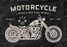 Style de vieille école de moto de course de vintage noir Photographie stock libre de droits